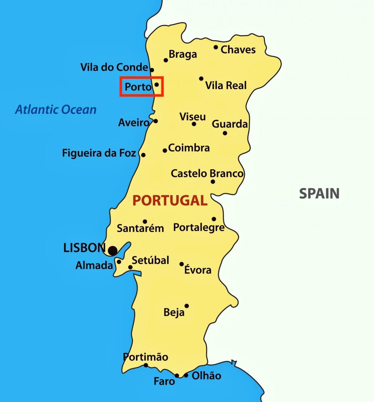 mapa de portugal porto Porto Portugal mapa   Porto no mapa de Portugal (Sur de Europa  mapa de portugal porto