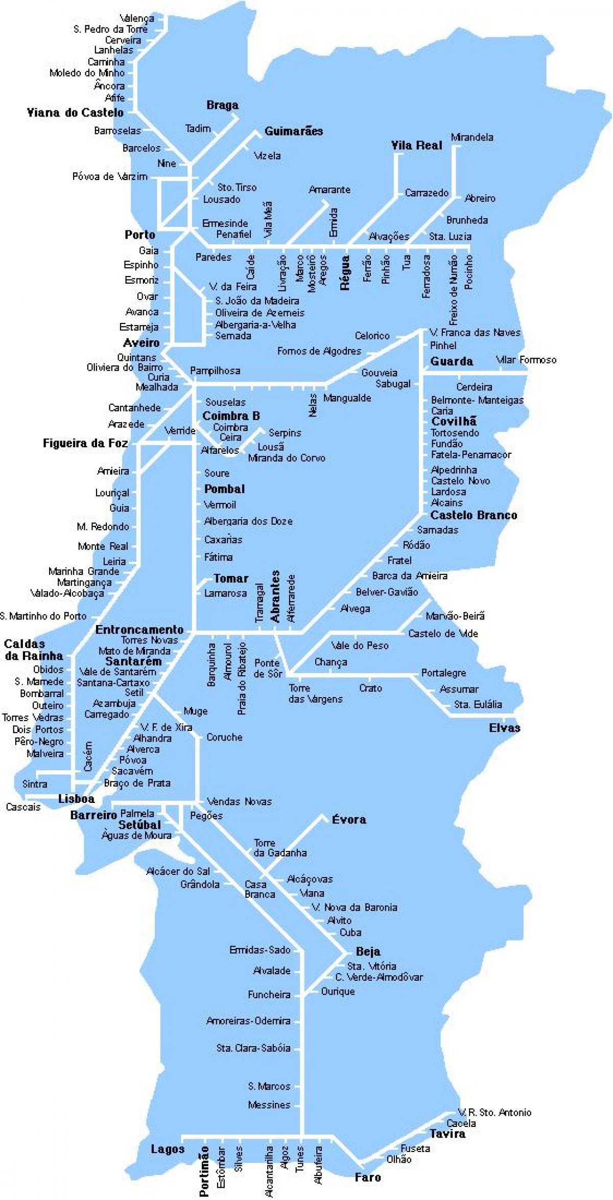 mapa ferroviario de portugal Portugal ferroviario mapa Ferroviario mapa Portugal (Sur de Europa  mapa ferroviario de portugal